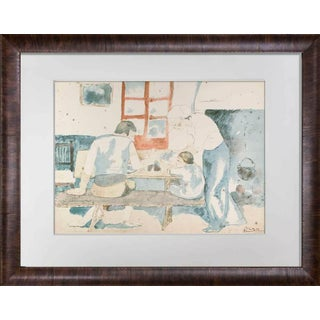 """Pablo Picasso Lithograph Limited Edition """"Family at Supper"""" 1946 Sign W/Frame Included For Sale"""