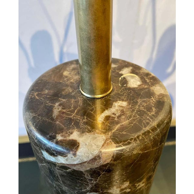 Deco Pair of Brass Base Marble Cylindrical Form Table Lamps With Finials For Sale - Image 4 of 13