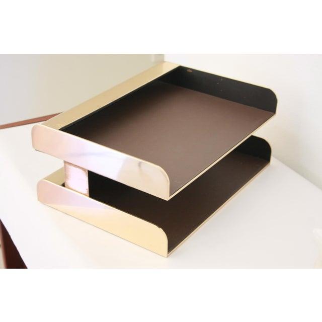 Mid-Century Modern William Sklaroff Radius Two Brass Desk Tray For Sale - Image 3 of 11