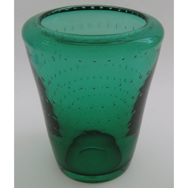 Vintage, American glass vase by Erickson featuring a rich, emerald color that has been embellished with a controlled...