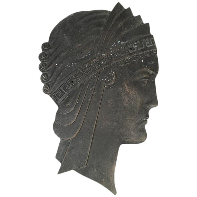 Excellent Hollywood Regency Art Deco Cast Iron Neoclassical Head ...