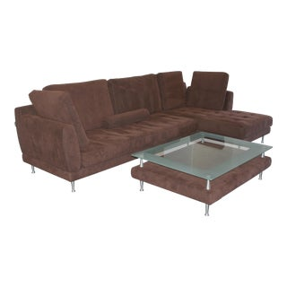 Contemporary Sectional Chaise Sofa & Coffee Table