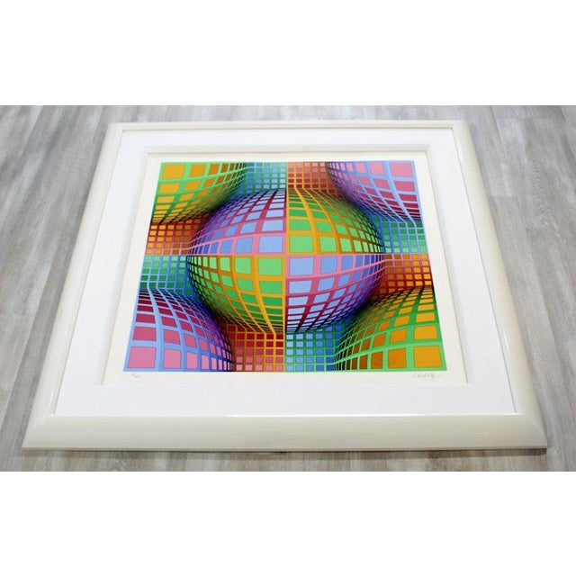 1970s Mid-Century Modern Large Pop Op Art Framed Lithograph by Victor Vasarely 275/300 For Sale - Image 5 of 8