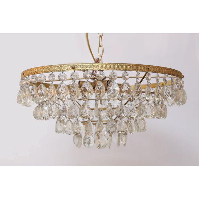 Palwa Gilt Brass and Crystal Chandelier by Palwa For Sale - Image 4 of 12