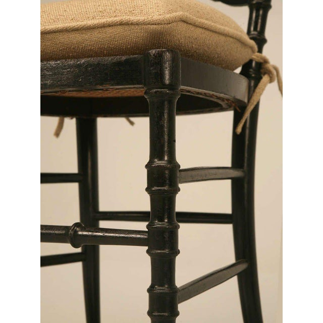 Original Antique French Napoleon III Ladderback Chair With New Linen Pad For Sale - Image 4 of 10