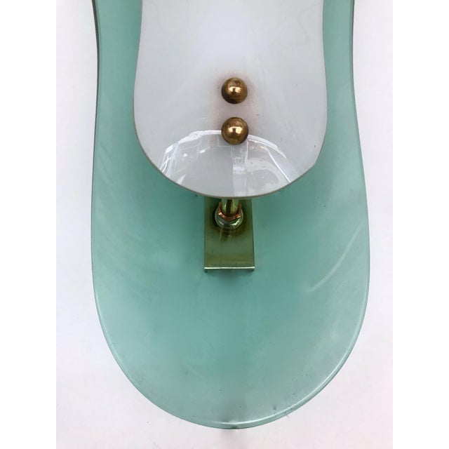 Curve Glass Opaline Brass Sconces by Cristal Art, Italy, 1960s - A Pair For Sale - Image 10 of 11