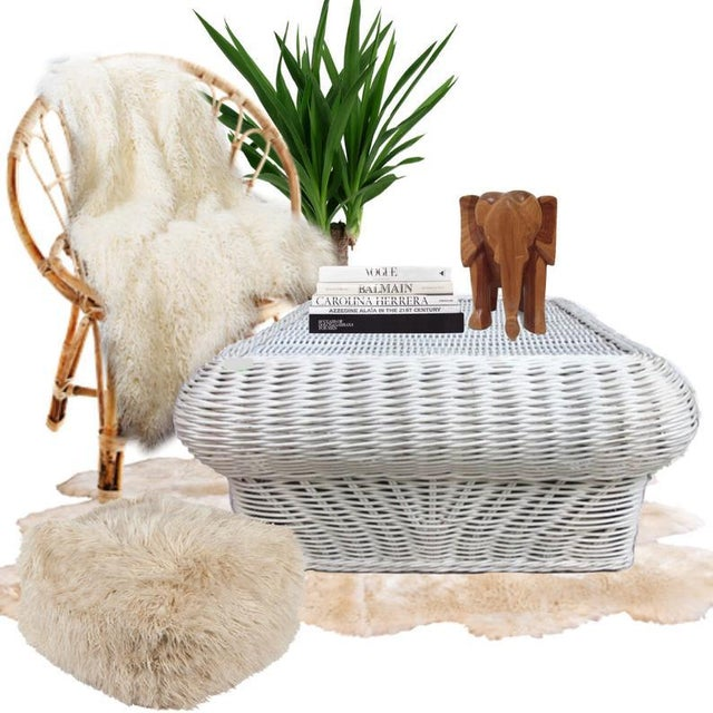 Vintage Boho Chic Woven Willow Coffee Table For Sale - Image 11 of 12