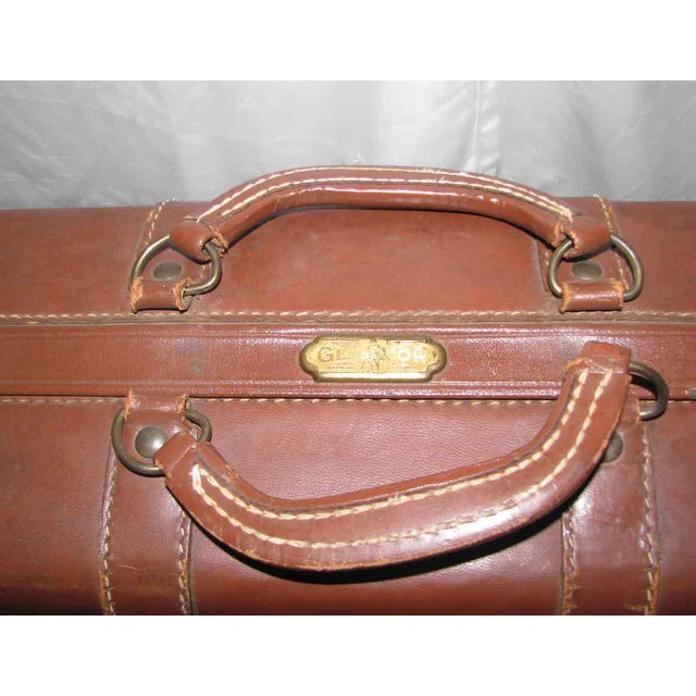 Vintage Leather Gladiator Suitcase - Image 7 of 10