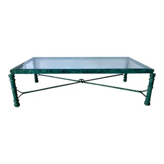 Vintage Verdigris Metal Dickinson Style Rectangular Coffee Table For Sale