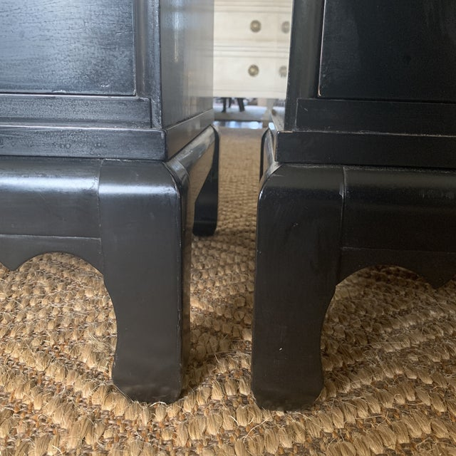 Black Lacquered Chinoiserie Chests With Brass Pulls- a Pair For Sale - Image 11 of 13