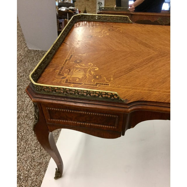 Antique Inlaid Glass Top French Coffee Table - Image 4 of 13
