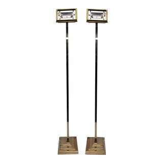 Pair of Modern Brass Floor Lamps For Sale