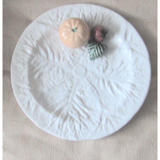 Vintage Majolica Cabbage Trompe l'Oeil Fruit Plate For Sale In West Palm - Image 6 of 6