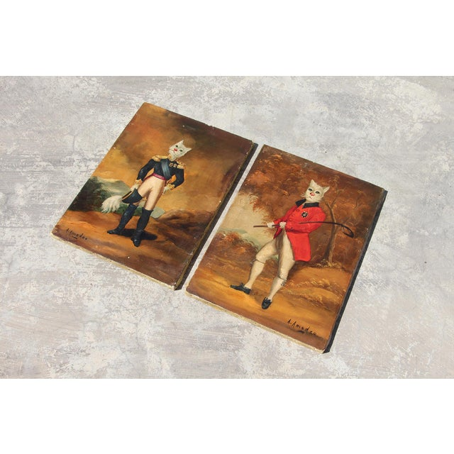 1900s French Singerie Style Portrait Oil Paintings of Cats in Military and Formal Dress - a Pair For Sale - Image 6 of 13