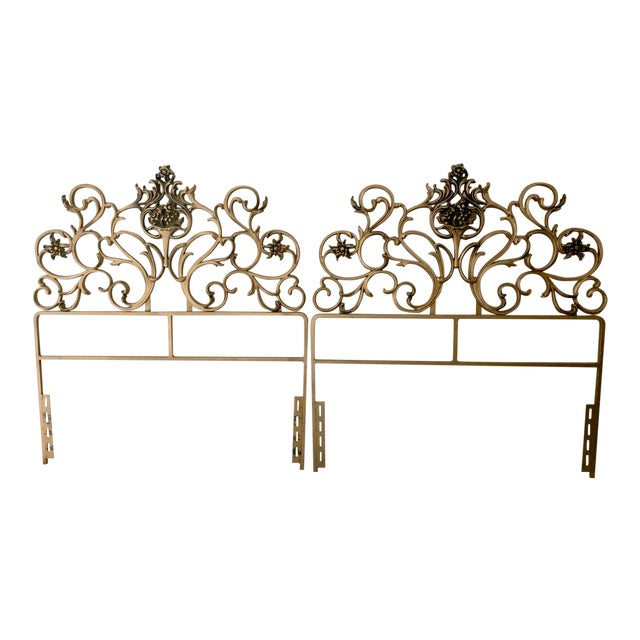 Vintage Gold Iron Twin Headboards With Floral Motif - a Pair For Sale