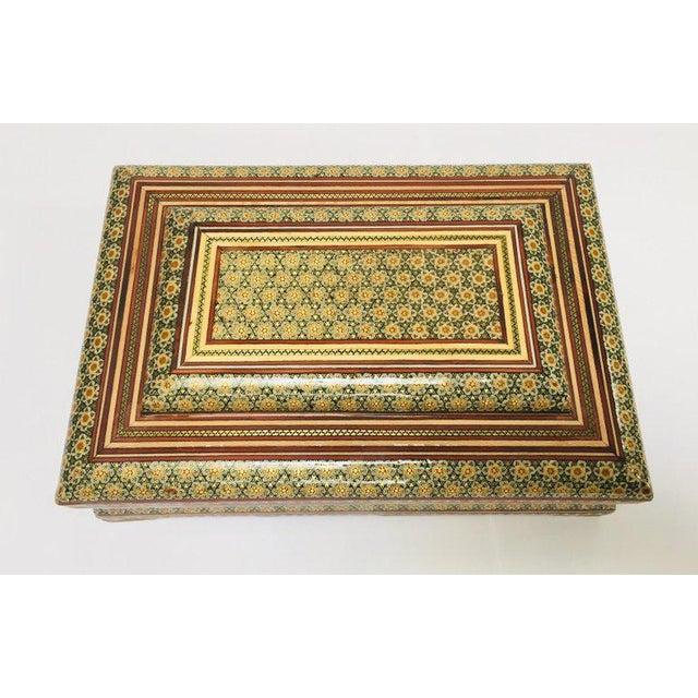 Large Persian Jewelry Mosaic Khatam Inlaid Box For Sale - Image 4 of 13