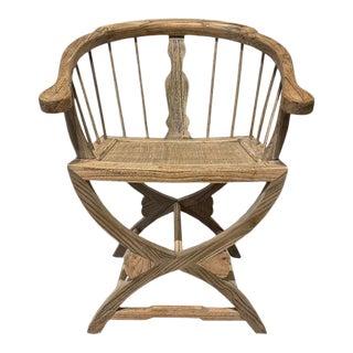 Tan Elm Rattan Top Chair For Sale