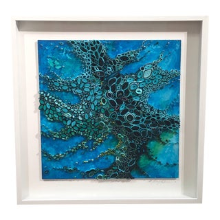 """Amy Genser """"Watch Out for Sea Creatures"""" Dimensional Blue Waterscape Artwork For Sale"""