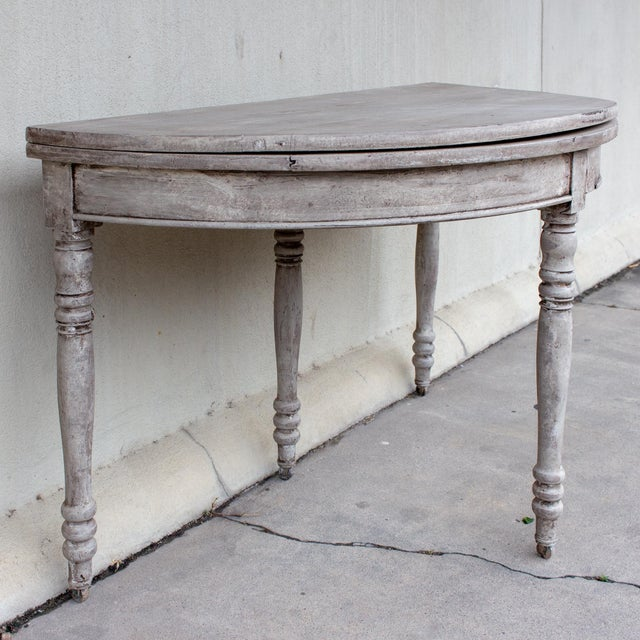 Late 19th Century Antique French Demi-Lune Console For Sale In Houston - Image 6 of 13