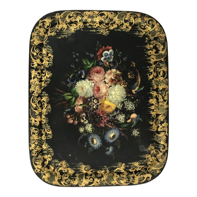 Napoleon III Painted Tray on Custom Art Deco Wrought Iron Stand For Sale
