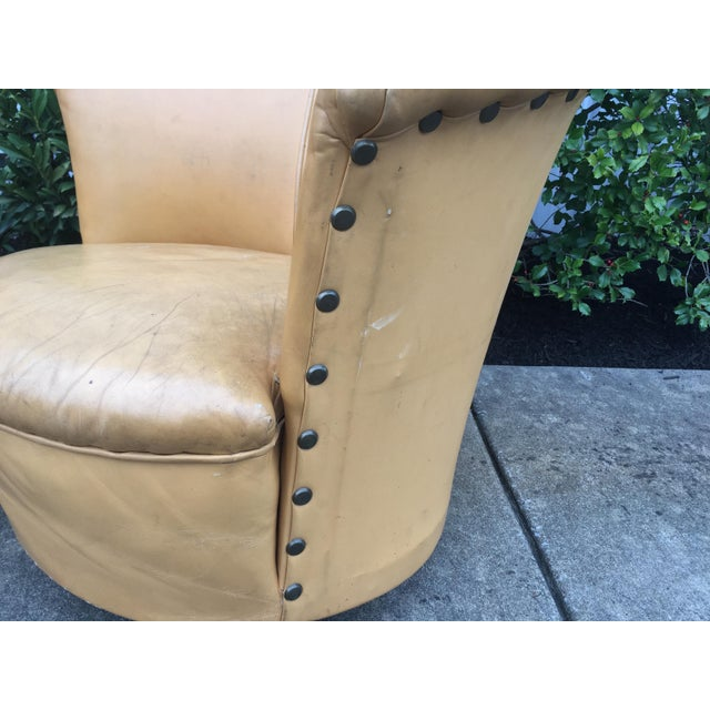 1960s Vintage Spanish Barrel Back Leather Chairs- a Pair For Sale - Image 5 of 13