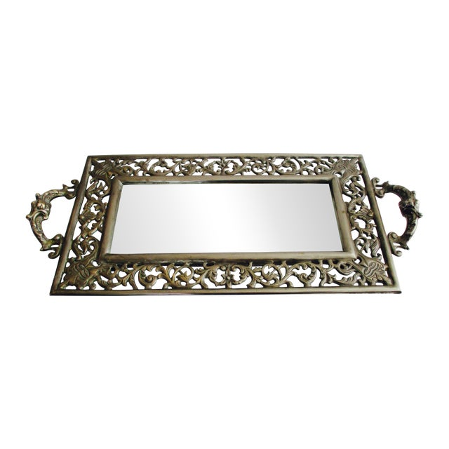 Vintage Ornate Silver Filigree & Mirrored Tray - Image 1 of 10