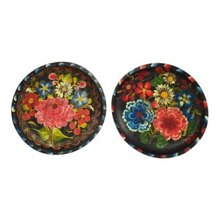 Mexican Folk Art Batea Bowls - A Pair