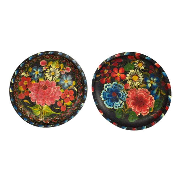 Mexican Folk Art Batea Bowls - A Pair For Sale