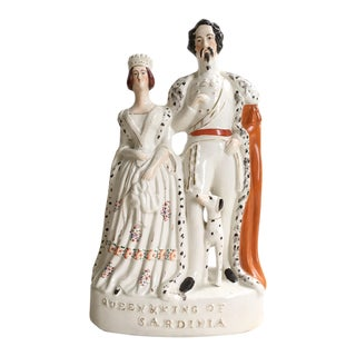 Antique Staffordshire Queen & King of Sardinia Figurine For Sale