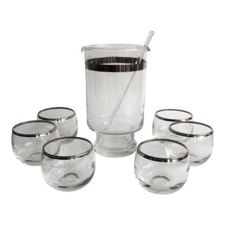 Mid-Century Modern Martini Set With 6 Roly Poly Glasses For Sale