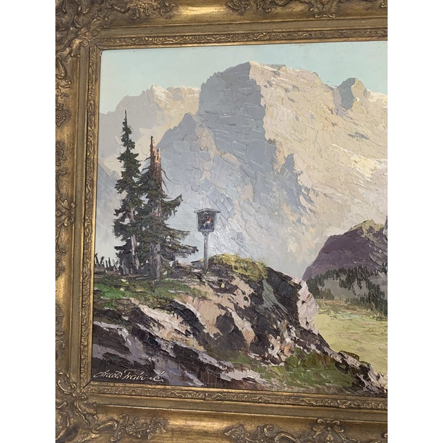 Canvas Large Mountain Scene Oil Painting in Gilt Frame For Sale - Image 7 of 13