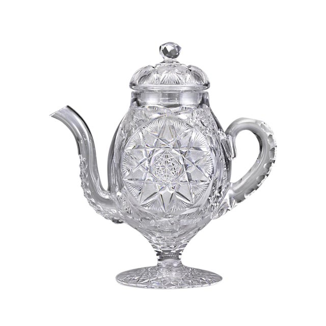 American Brilliant Cut Glass Coffee Pot by Meridan For Sale
