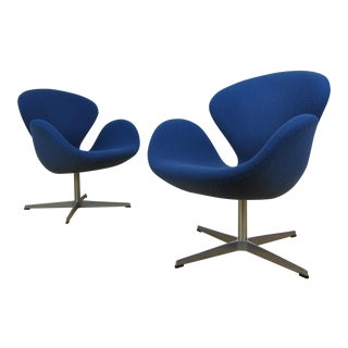Arne Jacobsen Fritz Hansen for Knoll Blue Swan Chairs - a Pair