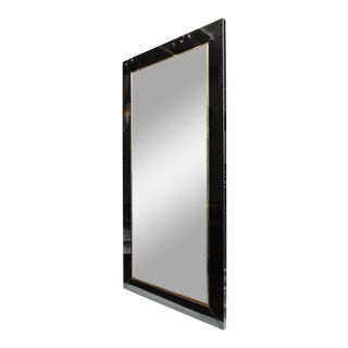 Custom Black Glass and Brass Full Length Mirror For Sale