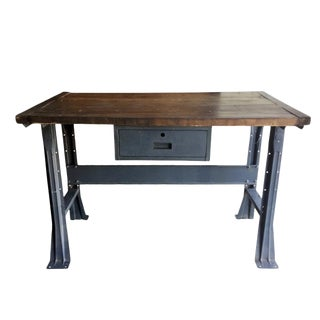 Industrial Work Table With Metal Base and Drawer For Sale