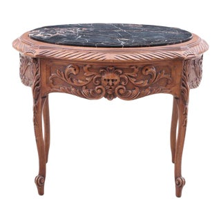 Vintage Italian Rococo Hand Carved North Wind Face Accent Table For Sale