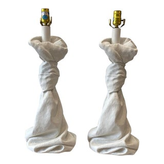 Dickenson Style Plaster Table Lamps - a Pair For Sale