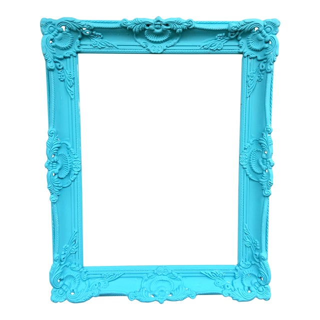 Antique Tiffany Blue Plaster Picture Frame - Image 1 of 10