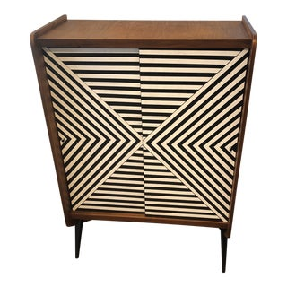 Tall Modern Cabinet With Labyrinth Pattern For Sale