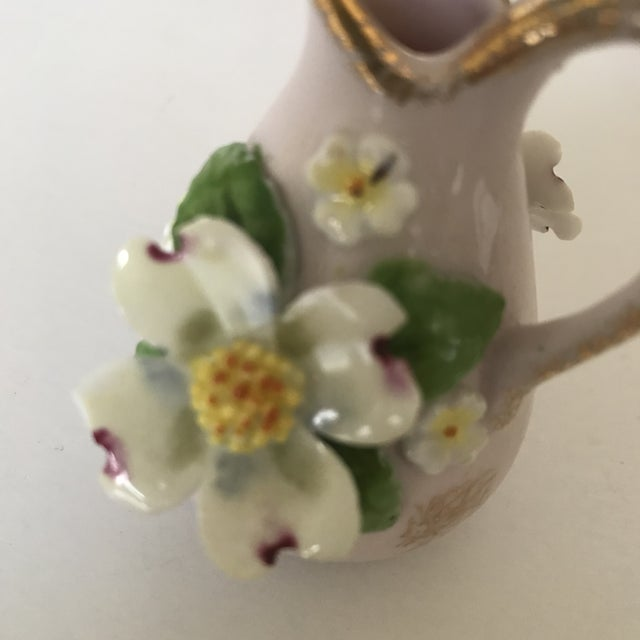 Antique Mini Pitcher With Porcelain Dogwood Flower For Sale - Image 4 of 6