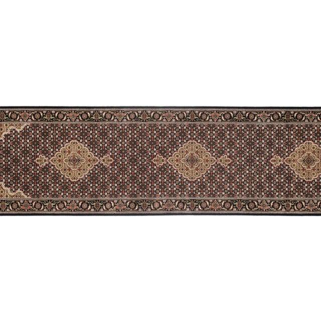 "Boho Chic Pasargad NY Indian Tabriz Mahi Design Silk & Wool Rug - 2'6"" X 10'2"" For Sale - Image 3 of 5"