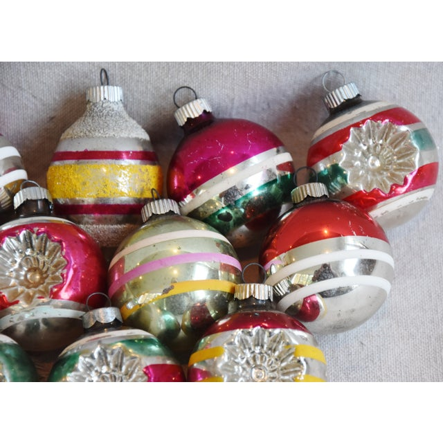 Blue Retro Midcentury Colorful Christmas Tree Ornaments W/Box - Set of 12 For Sale - Image 8 of 10