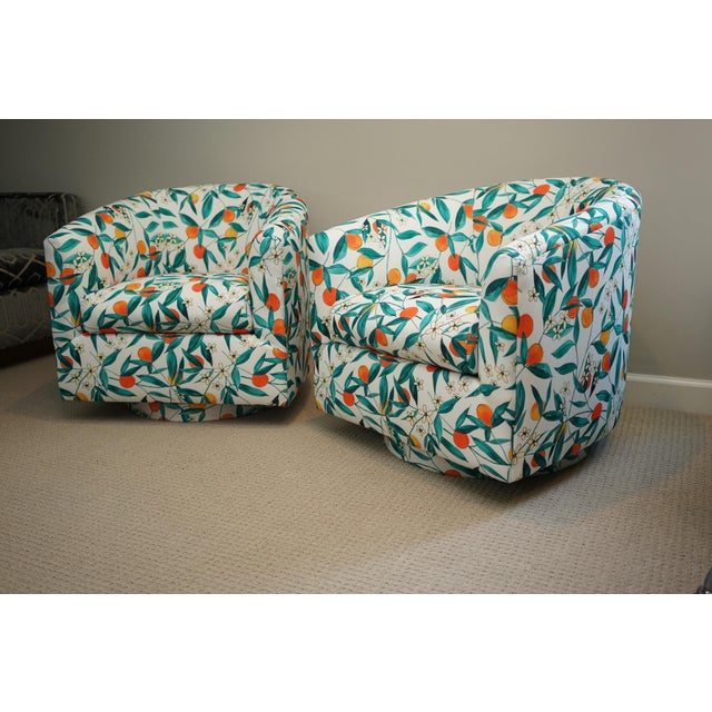 Mid 20th Century Vintage Mid-Century Baughman Style Swivel Chairs- A Pair For Sale - Image 5 of 10