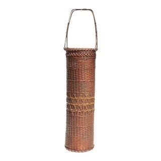 Antique Tall Hanakago Japanese Bamboo Ikebana Flower Basket For Sale