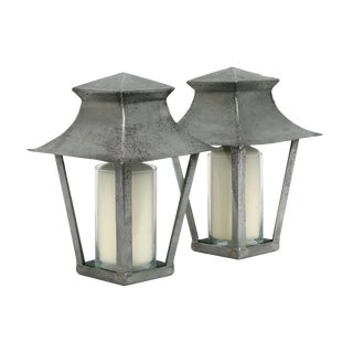 Petite 20th Century French Steel Candle Lanterns - a Pair For Sale