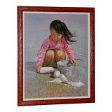 Image of Collecting Seashells on the Seashore Original Pastel Painting For Sale