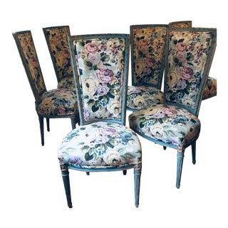 1960 Vintage Louis Style French Upholstered Dining Chairs - Set of 6 For Sale