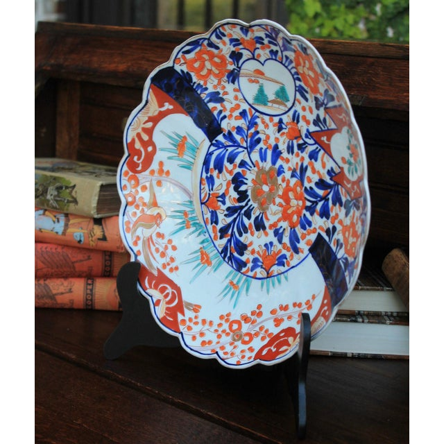 Asian Antique 19th Century Imari Bowl Serving Dish Plate Charger Japan For Sale - Image 3 of 12
