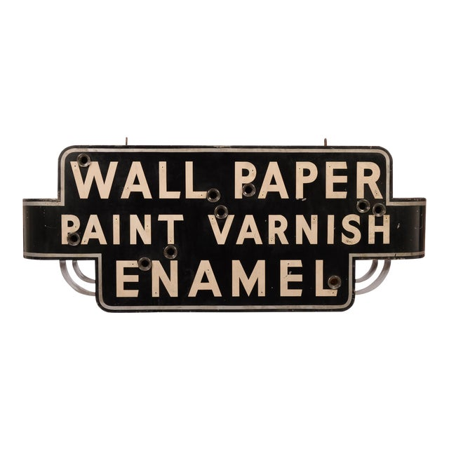 "Art Deco ""Wallpaper, Paint, Varnish, Enamel"" Neon Sign For Sale"