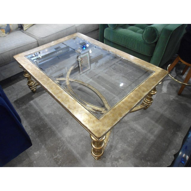 La Barge Gold Wood Framed Glass Top Coffee Table - Image 7 of 7